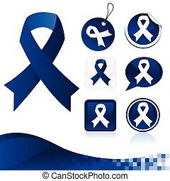 Dark Blue Awareness Ribbons Kit