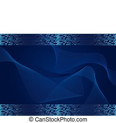 Dark blue abstract wavy background with halftone effect