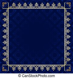 dark blue background with ornamental frame - vector