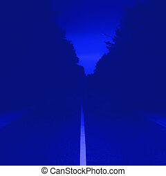 Dark Blue Background With Vanishing Road