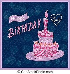 Dark blue birthday card with doodle cake