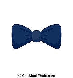 Dark blue bow tie icon, flat style