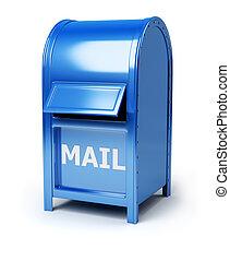mail box - Dark blue brilliant mail box. 3d image. Isolated ...