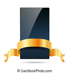 dark blue card with golden ribbon