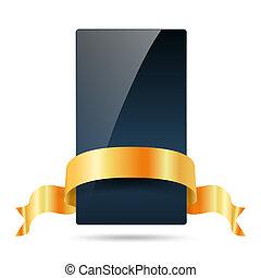 dark blue card with golden ribbon