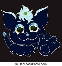 dark blue cat cartoon vector illustration