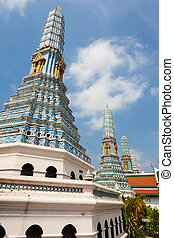 Dark Blue Chedi - famous Prangs in the Grand Palace in...