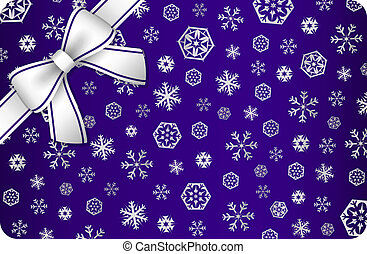 Dark blue Christmas card with silver snow flakes and ribbon in the corner