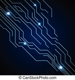 Dark blue circuit board technology background