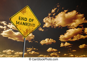 Dark blue cloudy sky and yellow faded road sign