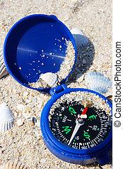 Dark blue compass