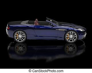 Dark blue convertible sports car