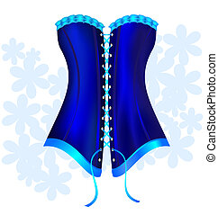 dark blue corset - on a white background there is a big blue...