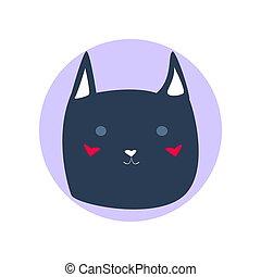 Dark blue cute cartoon style cat in shape of grey circle vector illustration