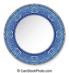 Dark blue decorative plate with pattern.