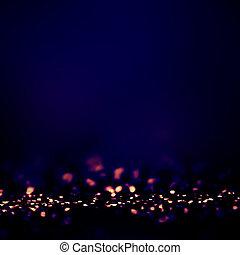 Dark Blue Defocused Bokeh twinkling lights Vintage...