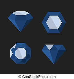 Dark Blue Diamond Vector Icons Set