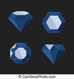 Dark Blue Diamond Vector Icons Set