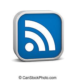 Dark Blue Feeds Sign - Dark Blue feeds sign on a white...