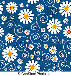 Dark blue floral pattern with white flowers (vector)