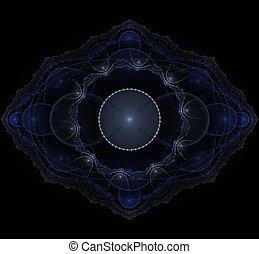 Dark blue fractal mandala on black background