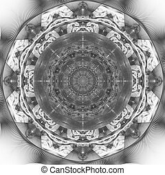 Dark blue fractal mandala on light background. Crazy abstract fractal shapes with kaleidoscopical pattern