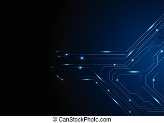 Dark blue glowing circuit board tech background