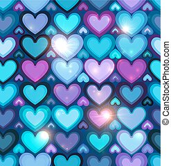 Dark blue hearts vector seamless pattern