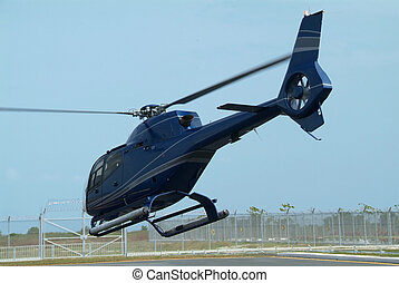 Dark blue helicopter
