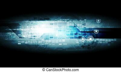 Dark blue hi-tech motion background clip. Video animation HD...