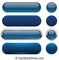 Dark-blue high-detailed modern web buttons. - Set of blank...