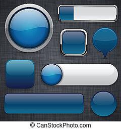 dark-blue, high-detailed, moderne, buttons.