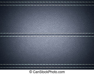 Dark Blue horizontal stitched leather background. Large...