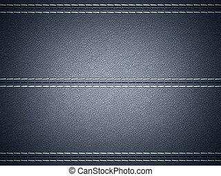 Dark Blue horizontal stitched leather background. Large...