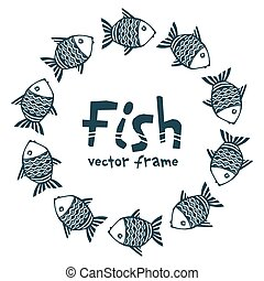 Dark blue ink color hand drawn grunge doodle style fishes vector round frame
