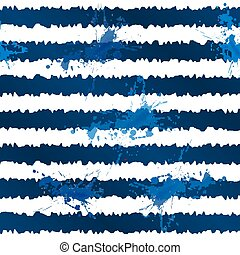 Dark blue ink stripes and splashes seamless pattern