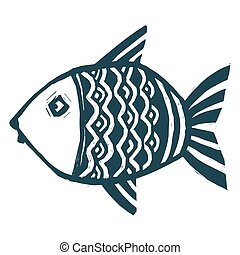 Dark blue ink vector stylized hand drawn grunge fish