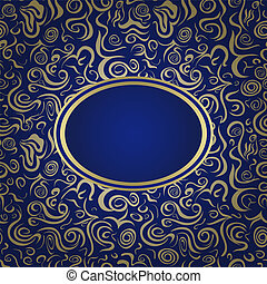 Golden And Blue Invitation Card And Golden Ribbon