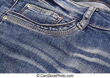 Dark blue jeans close-up background