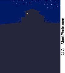 dark blue landscape sky with stars night house on a hill dark outline bushes branches and bright light to a rectangular box vector illustration vertical dark empty space bottom for text