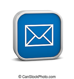 Dark Blue mail sign on a white background. Part of a series.
