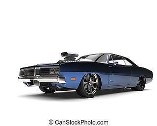 Dark blue metallic vintage American muscle car
