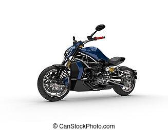 Dark blue modern fast motorcycle