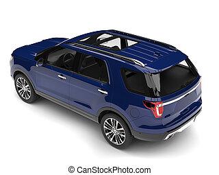 Dark blue modern SUV - top down back view