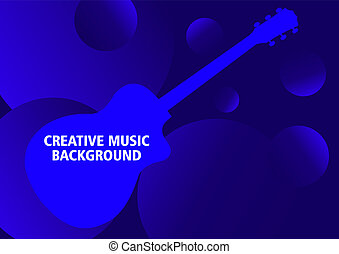 Dark blue musical background with guitar silhouette and gradient circle shapes, 3d effect, depth of space, place for message, contrasting white sample text