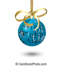 Dark blue New Year\'s ball with the drawn tiger.Vector illustration