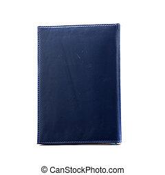 Dark blue notebook isolated on white.