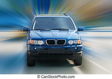 Dark blue off-road car driving - dark blue off-road car...