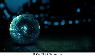 Dark Blue Orb 3D Bokeh City Loop