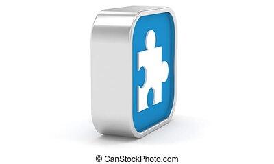 Dark Blue Puzzle Sign - Dark Blue puzzle sign on a white...